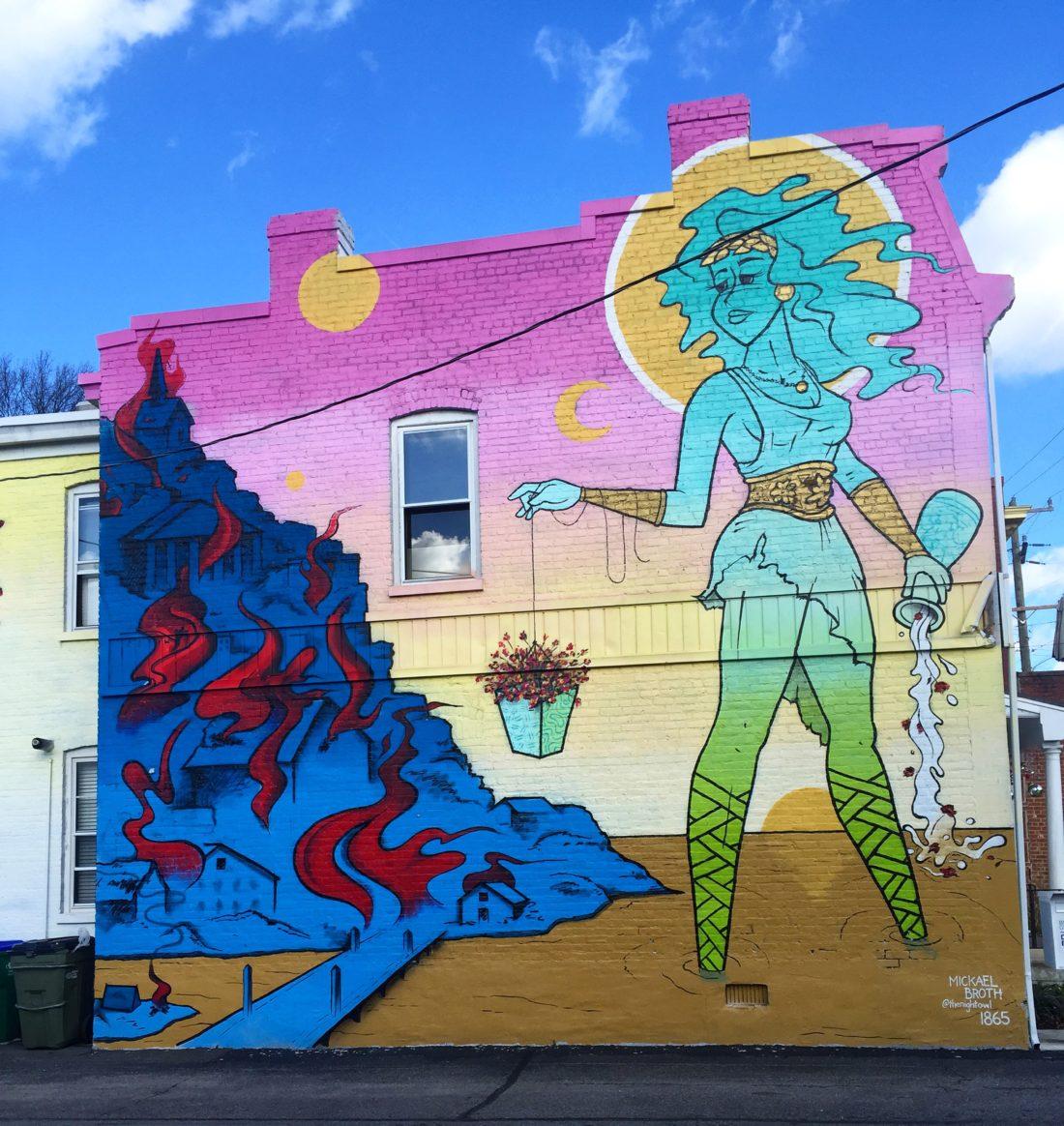 RVA Mural Project Street Art  Packs Light   Gorgeous Goddess