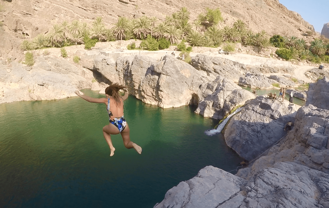 Oman Adventures Cliff Jumping In Wadi Al Arbaeen