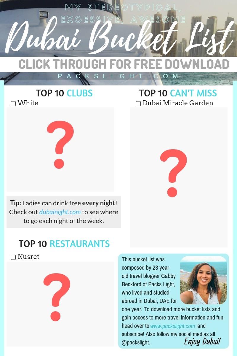 Dubai Bucket List Things to Do