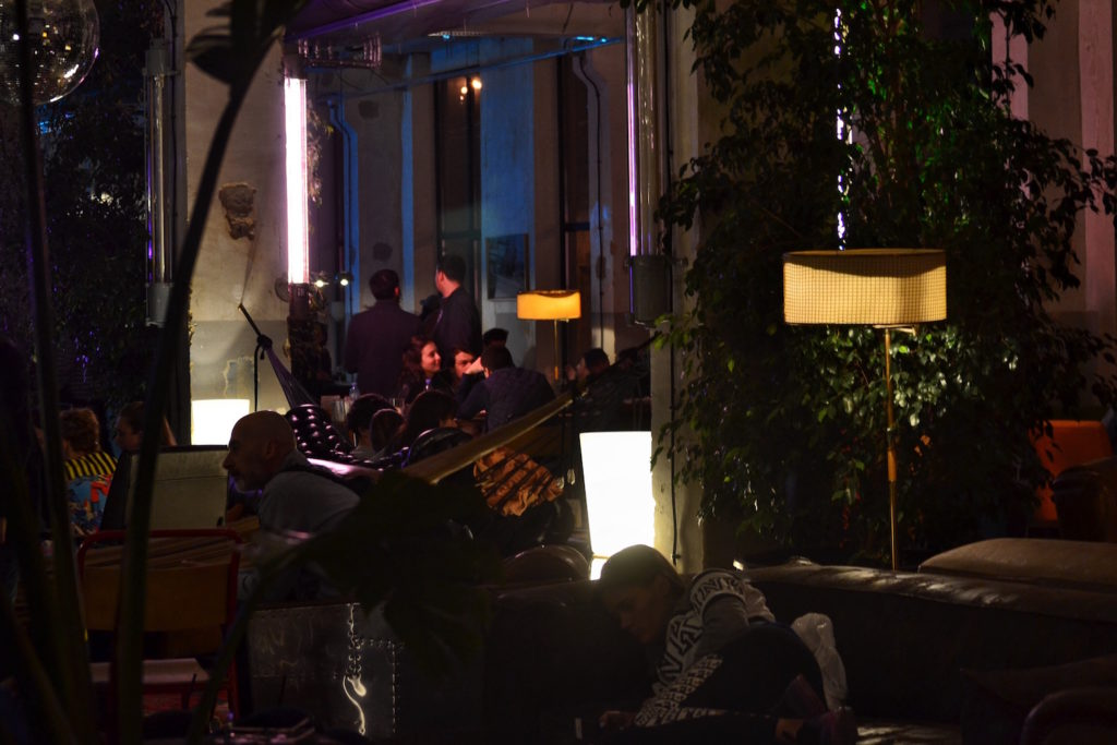 Hostel Indoors Community Space at Night- Fabrika Hostel Tbilisi   Packs Light