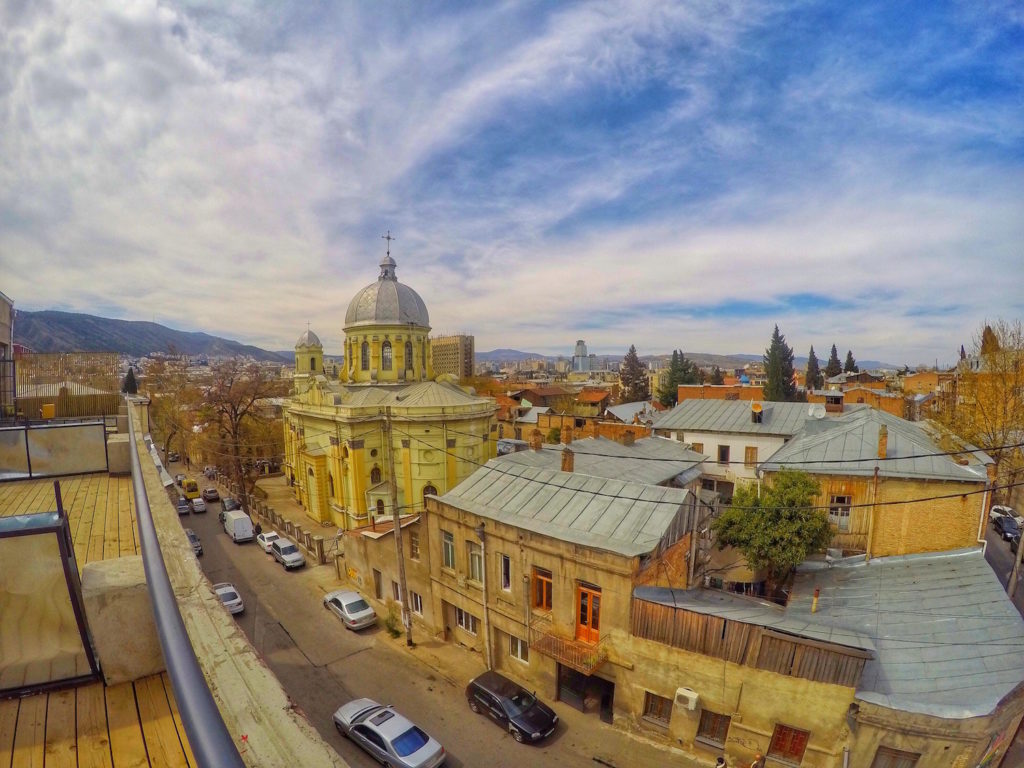 View from Suite Terrace - Fabrika Hostel Tbilisi   Packs Light