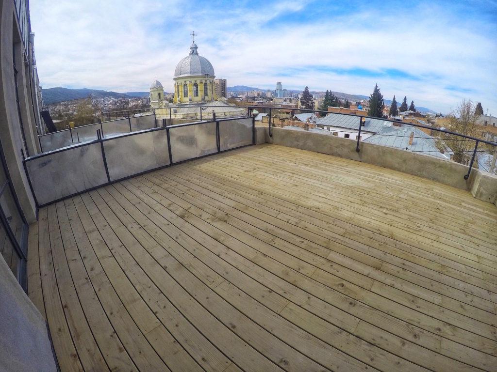 View of Terrace - Fabrika Hostel Tbilisi   Packs Light