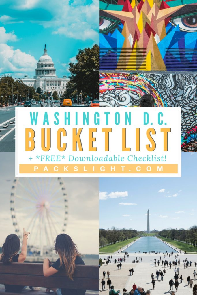 Click through to see a bucket list of 74 ideas for exploring and experiencing Washington DC! AND, download your own blank, printable pdf of the bucket list for your next trip. #WashingtonDC #ThingstodoinDC #DC