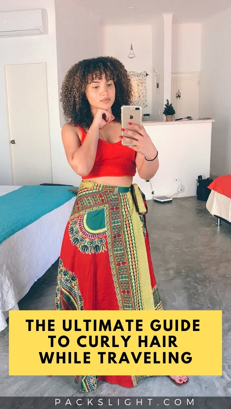 Everything you could possibly need to know about traveling with curly hair. Products, style ideas, TSA information, and much more. #curly #curlyhair #howtodocurlyhair #curlystyles #curlybangs #travelingwithcurlyhair