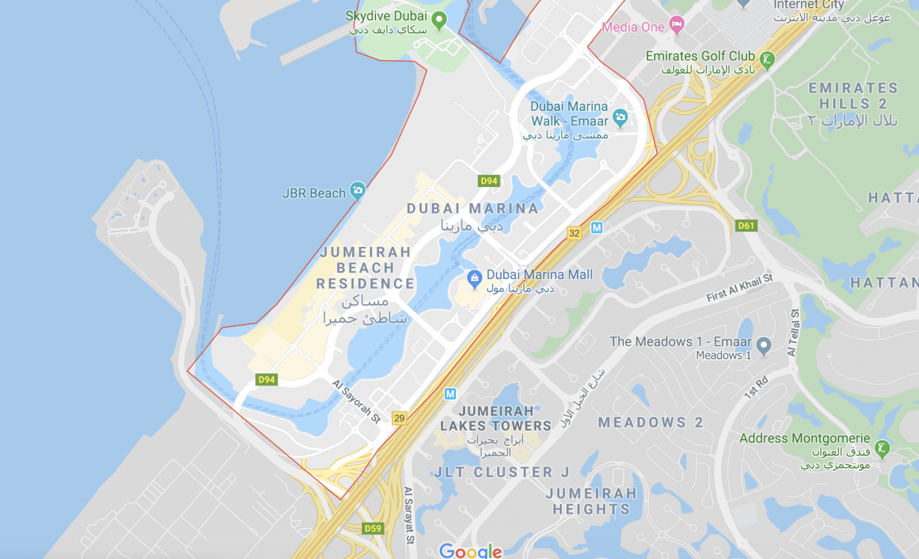 Map of Dubai JBR JLT and MARINA