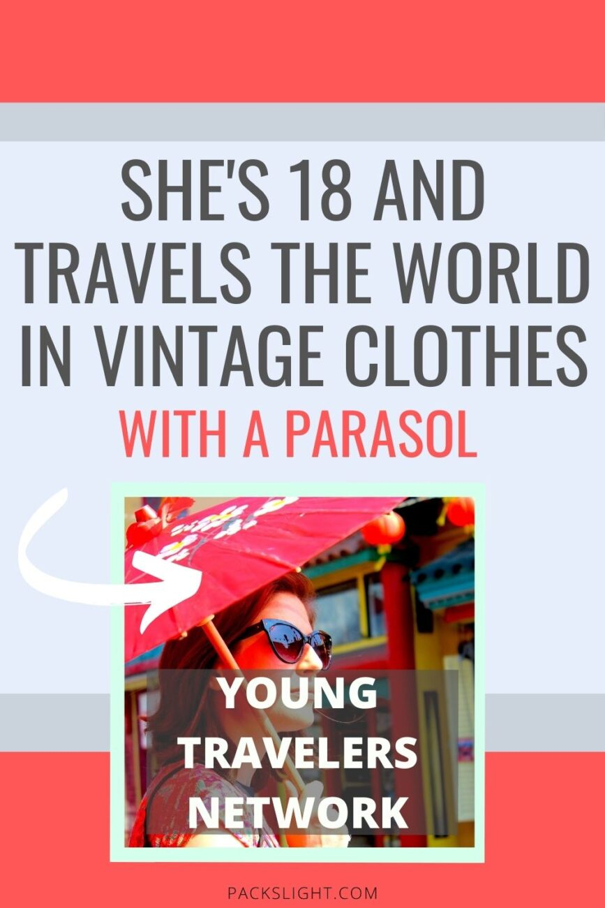 Tiffany, 18, takes her vintage fashion and parasol around the USA. Her unique style makes her more confident and leads her to new friendships in her travels