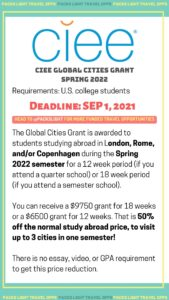 CIEE Global Cities Grant - Spring 2022