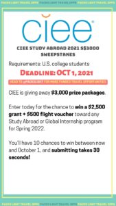 CIEE Study Abroad 2021 Sweepstakes