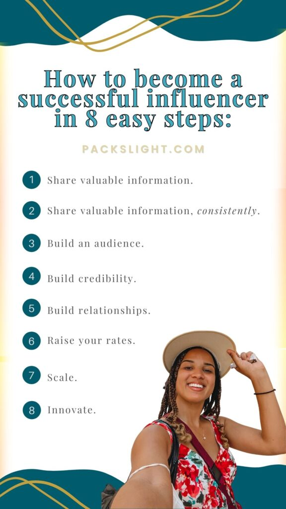 The 8 simple (but not easy!) steps to becoming sa successful influencer!